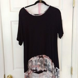 LOGO Asymmetrical Hem Black Tunic
